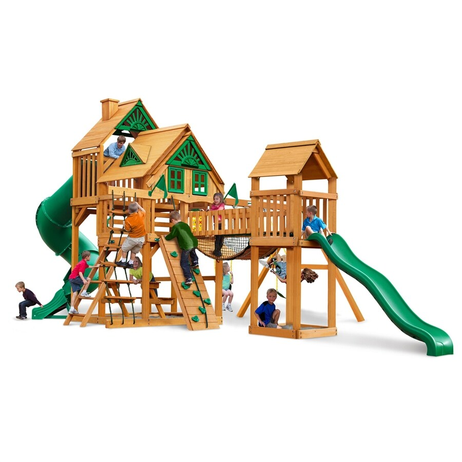 Gorilla Playsets Treasure Trove Treehouse Residential Wood Playset with Swings