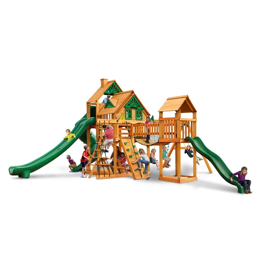 Gorilla Playsets Treasure Trove II Treehouse Residential Wood Playset with Swings