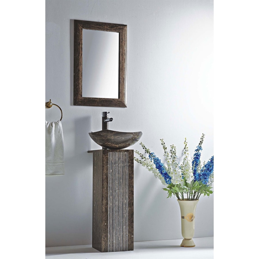 MTD Vanities Ares 35.9 In H Dark Emperador Stone Pedestal Sink (Drain  Included)