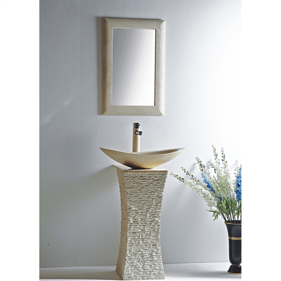 MTD Vanities Milan 36-in H Galala Marble Stone Pedestal Sink (Drain Included)