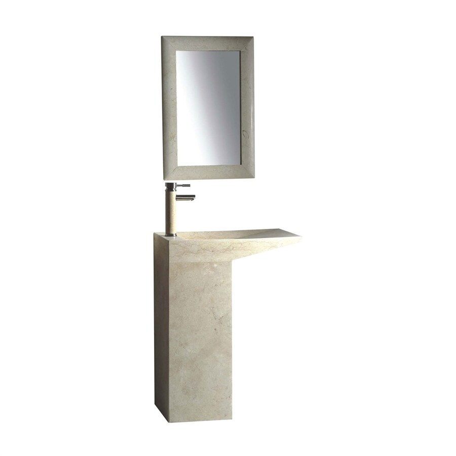 ... -in H Galala Marble Stone Pedestal Sink (Drain Included) at Lowes.com