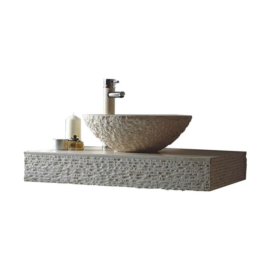 Round Vessel Sink Vanity : MTD Vanities Rome Galala Marble Vessel Round Bathroom Sink with Faucet ...