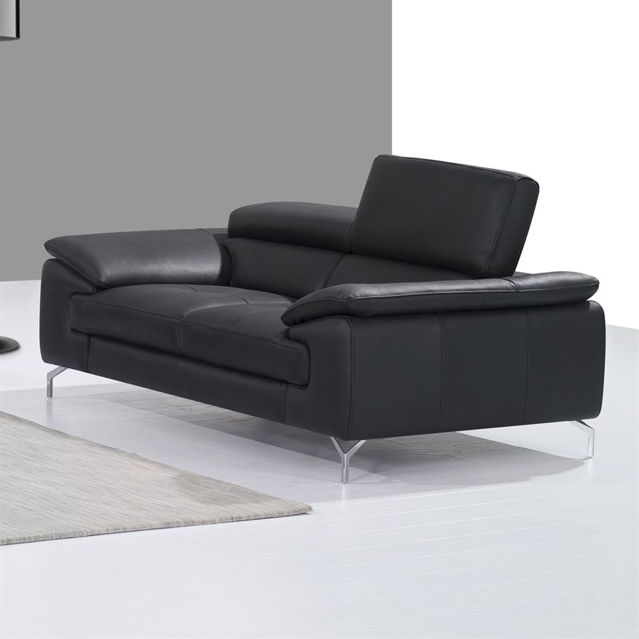J&M Furniture Black Leather Loveseat