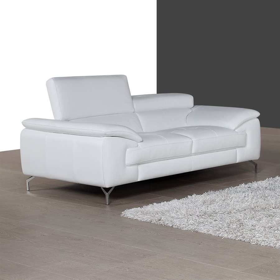 J&M Furniture White Leather Stationary Loveseat