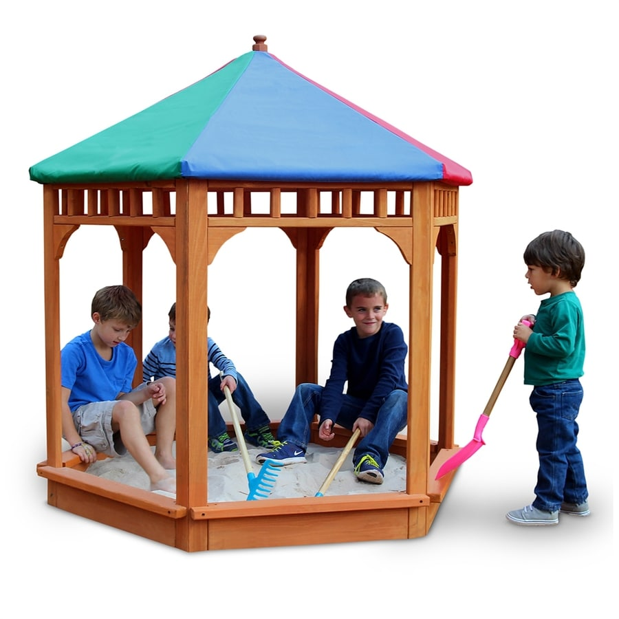 Gorilla Playsets 60.5-in x 60.5-in Multicolor Hexagon Wood Sandbox