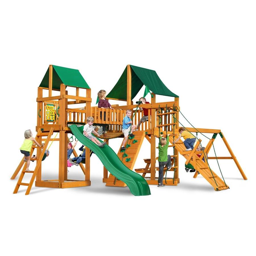 Gorilla Playsets Pioneer Park Residential Wood Playset with Swings