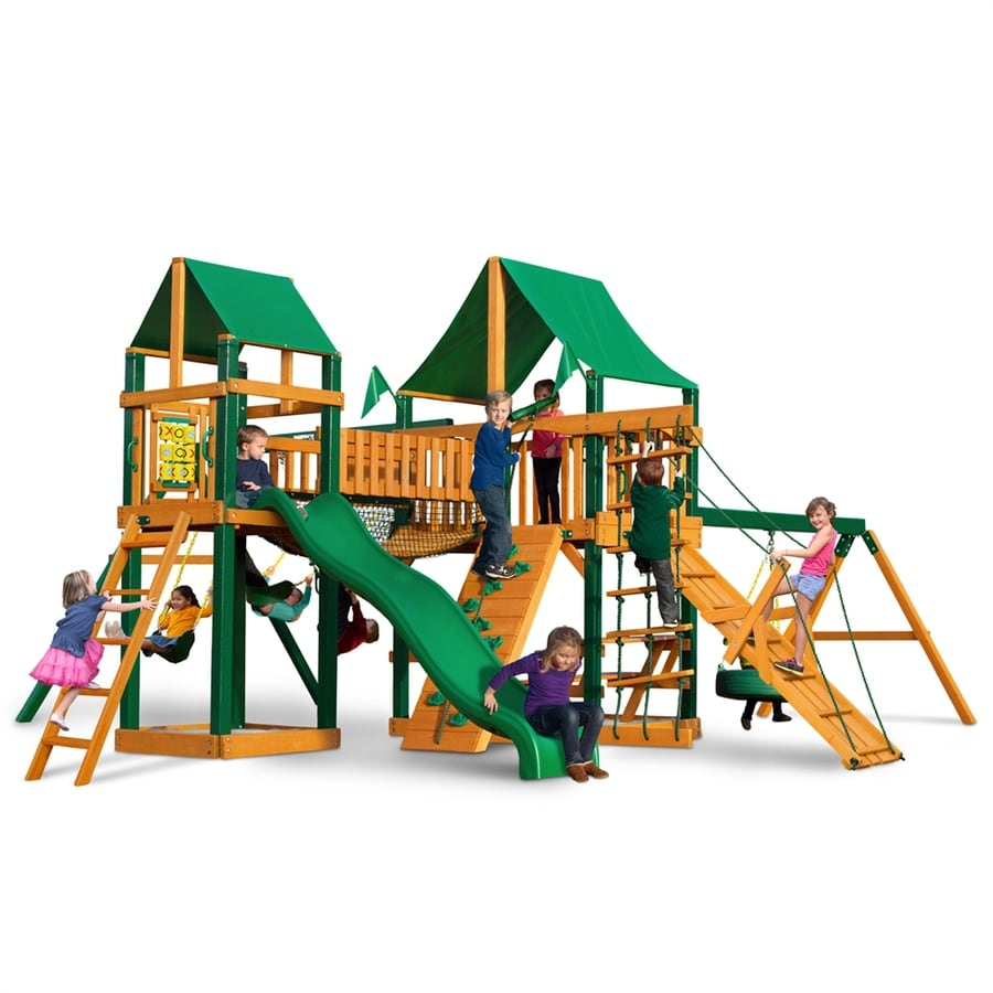 Gorilla Playsets Pioneer Park Residential Wood Playset with Swings