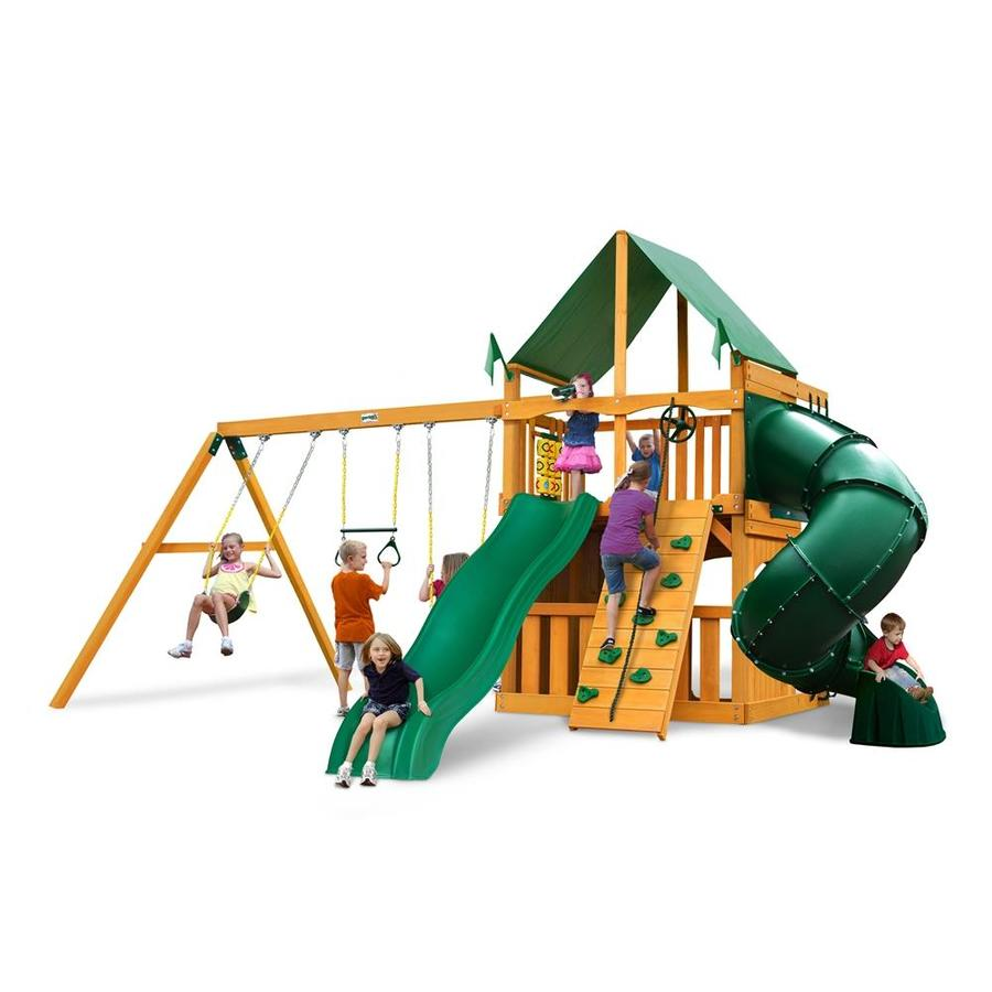 Gorilla Playsets Mountaineer Clubhouse Residential Wood Playset with Swings