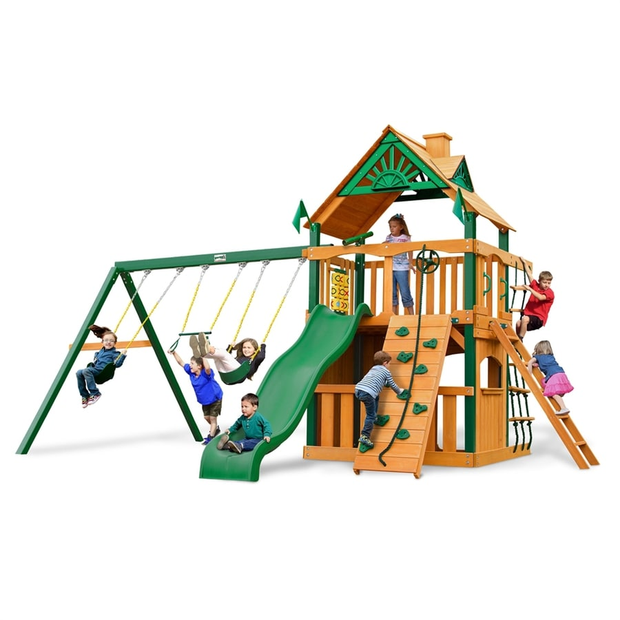 Gorilla Playsets Chateau Clubhouse Residential Wood Playset with Swings