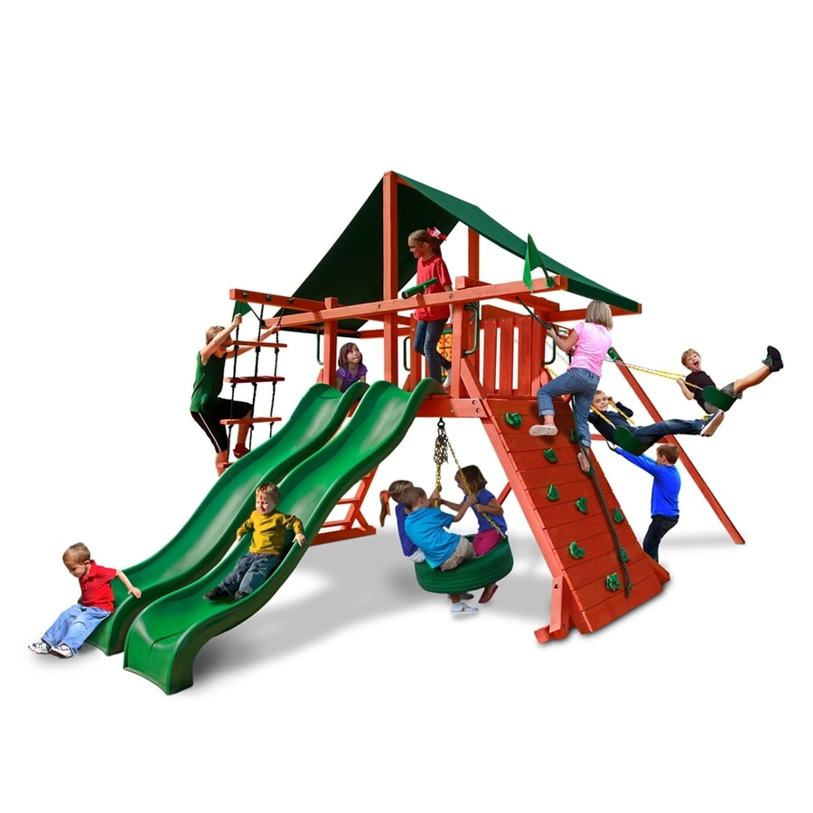 Gorilla Playsets Sun Climber Extreme Residential Wood Playset with Swings