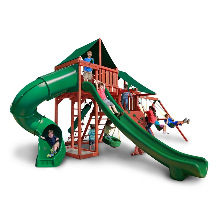 Gorilla Playsets Sun Climber Deluxe Residential Wood Playset with Swings