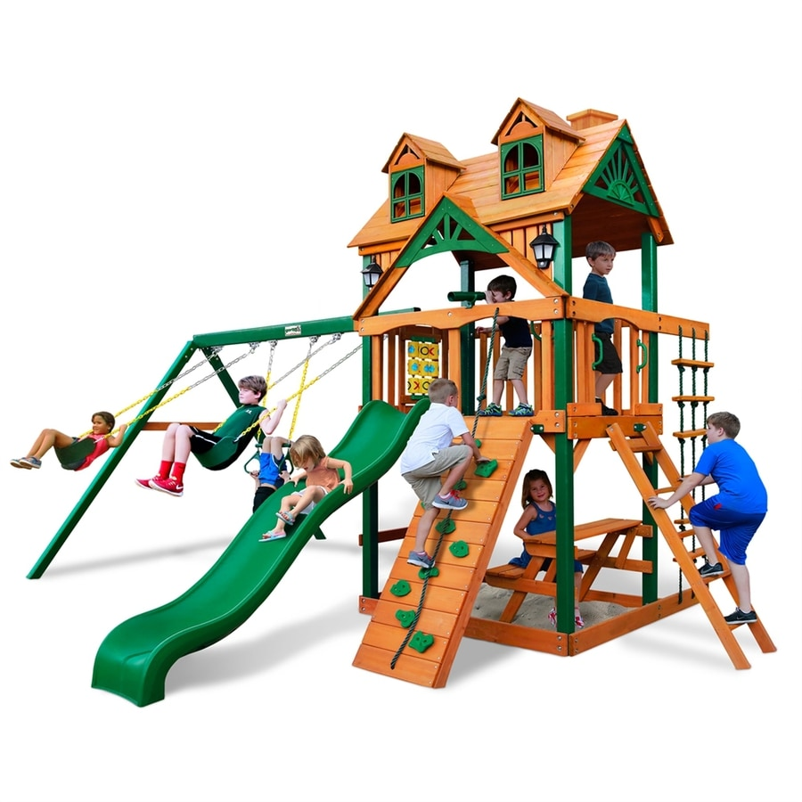 Shop gorilla playsets malibu residential wood playset with for Gorilla playsets