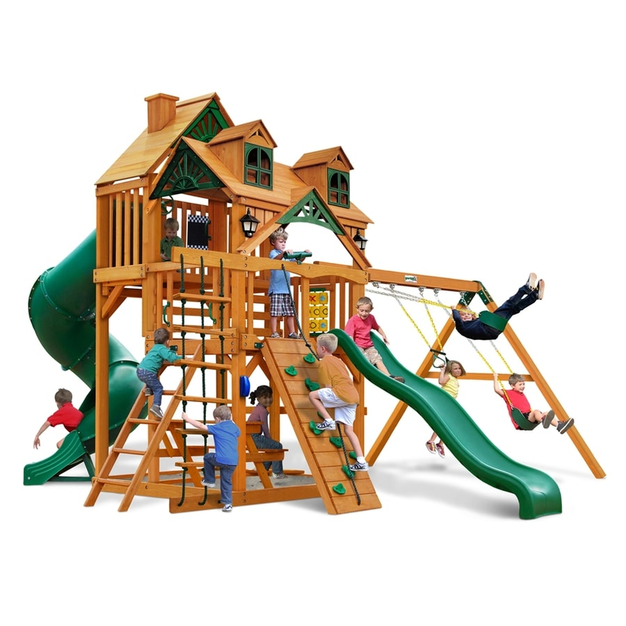 Gorilla Playsets Malibu Deluxe I Residential Wood Playset with Swings