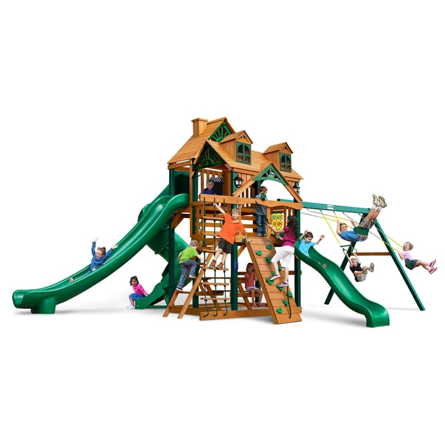 Gorilla Playsets Malibu Deluxe II Residential Wood Playset with Swings