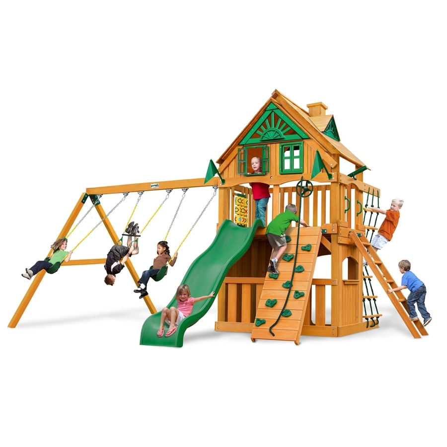 Gorilla Playsets Chateau Clubhouse Treehouse Residential Wood Playset with Swings