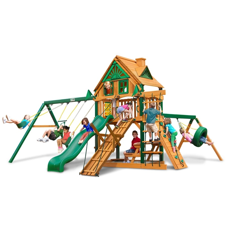 Gorilla Playsets Frontier Treehouse Residential Wood Playset with Swings