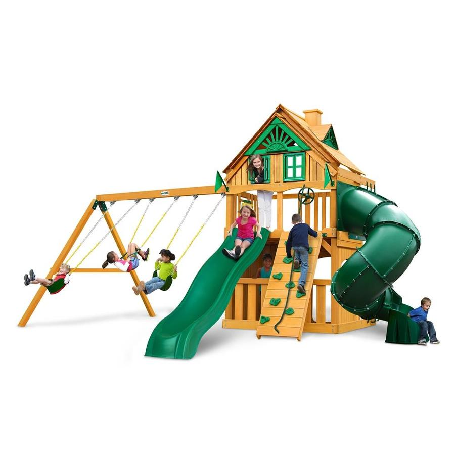 Gorilla Playsets Mountaineer Clubhouse Treehouse Residential Wood Playset with Swings