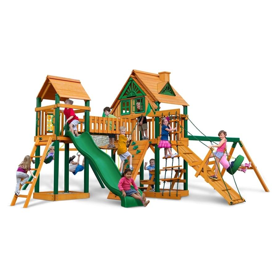 Gorilla Playsets Pioneer Peak Treehouse Residential Wood Playset with Swings