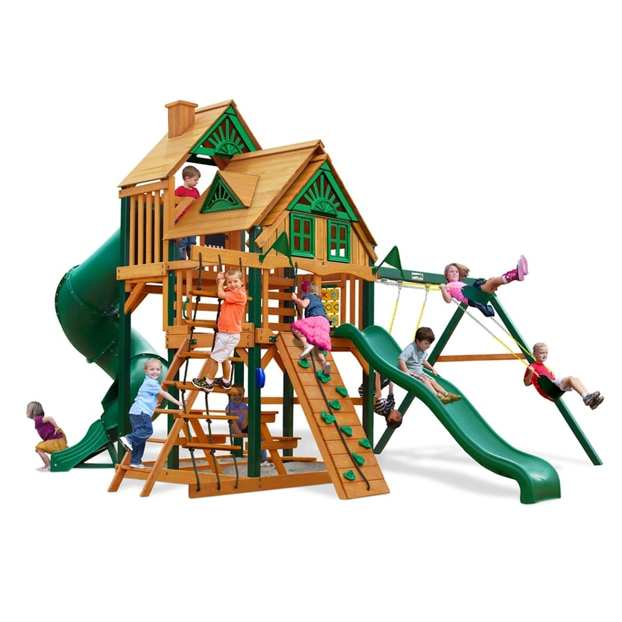 Gorilla Playsets Great Skye I Treehouse Residential Wood Playset with Swings