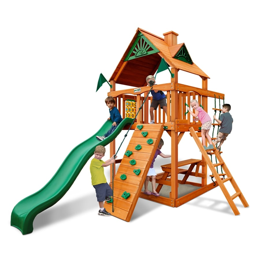 Gorilla Playsets Chateau Tower Residential Wood Playset with Swings