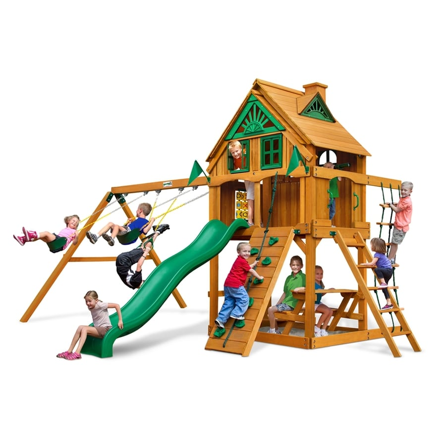 Gorilla Playsets Chateau Tower Treehouse Residential Wood Playset with Swings