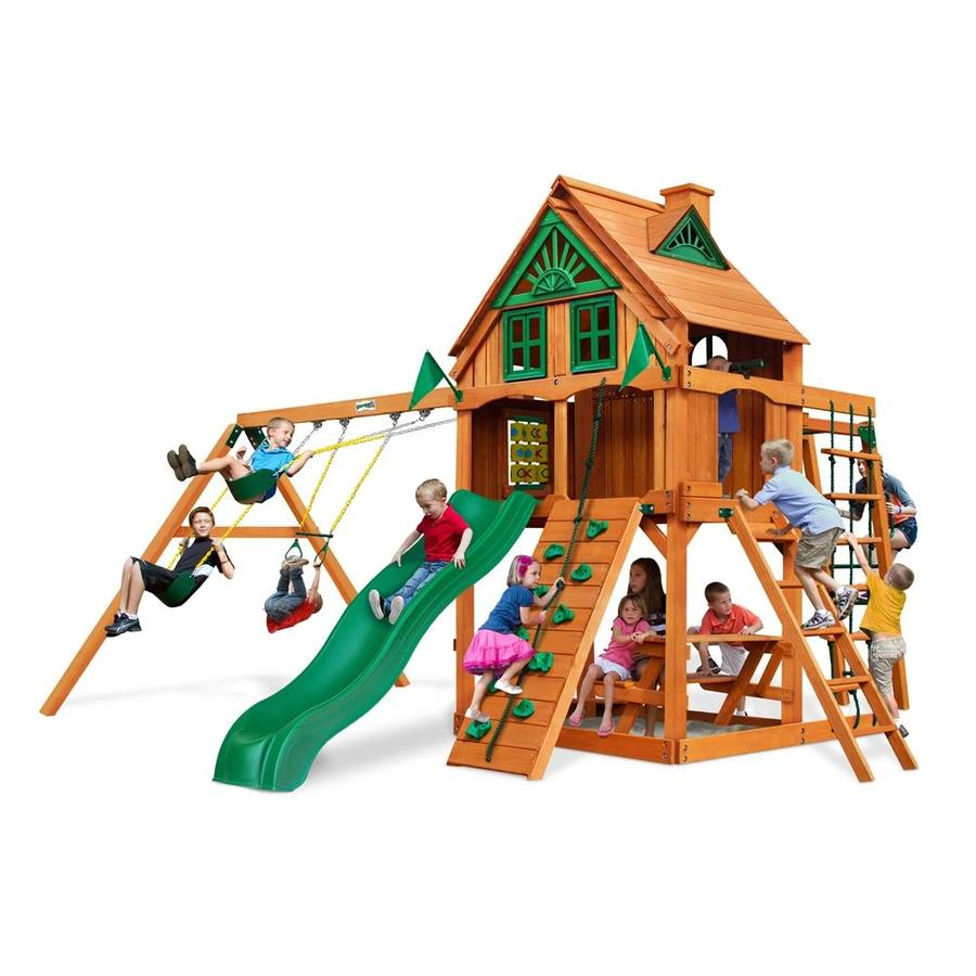 Gorilla Playsets Navigator Treehouse Residential Wood Playset with Swings