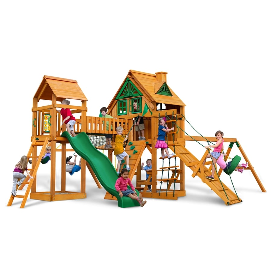Gorilla Playsets Pioneer Peak Treehouse Residential Wood Playset with Swings