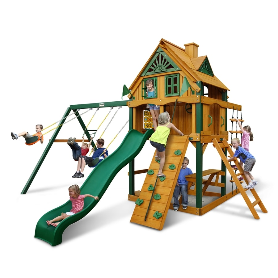 Gorilla Playsets Mountain Ridge Residential Wood Playset with Swings