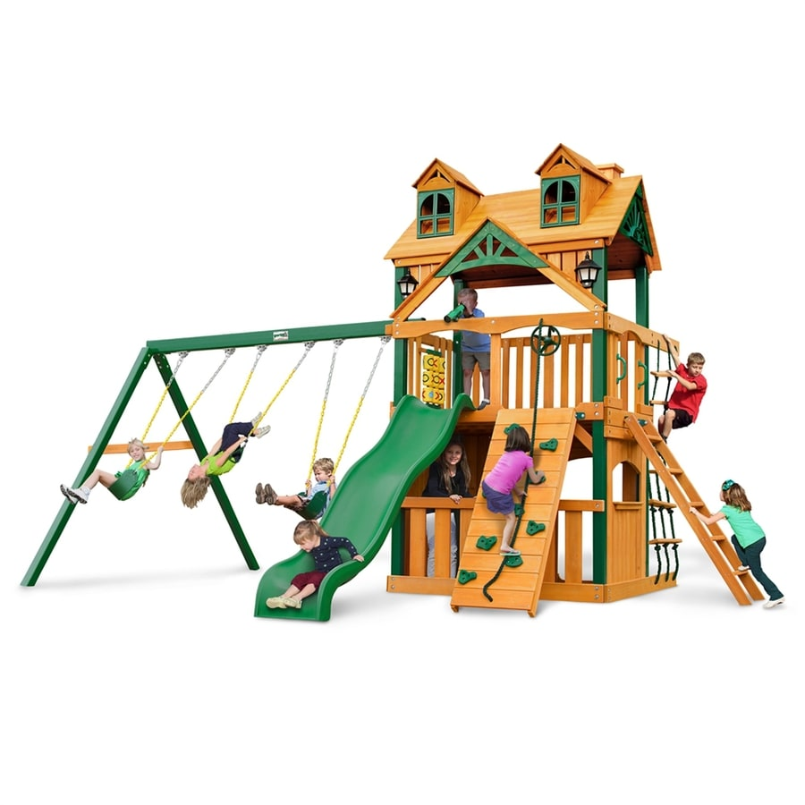 Gorilla Playsets Malibu Clubhouse Residential Wood Playset with Swings