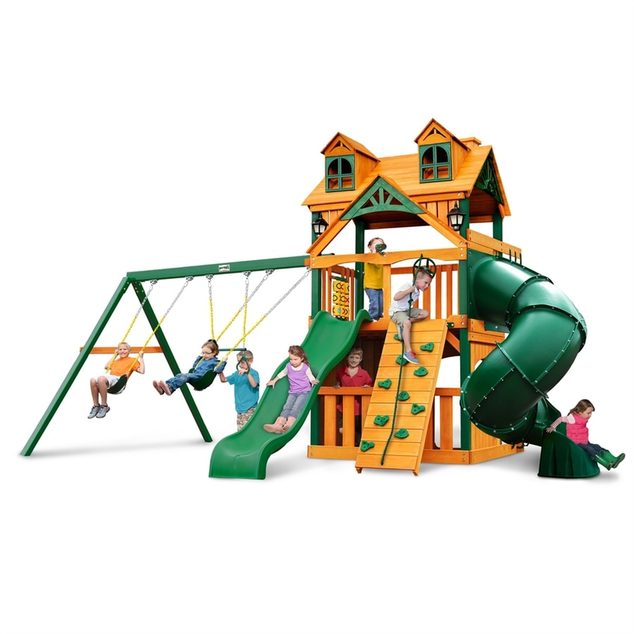 Gorilla Playsets Malibu Extreme Clubhouse Residential Wood Playset with Swings