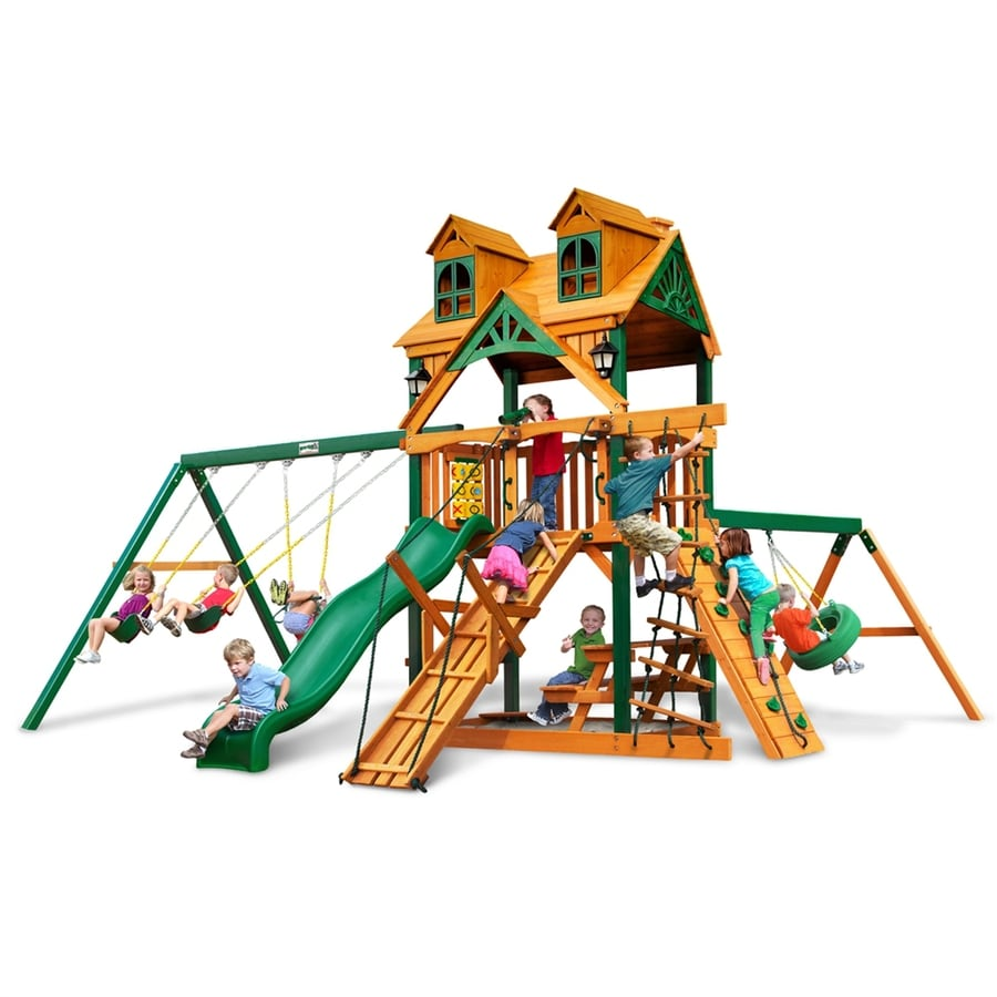 Gorilla Playsets Malibu Frontier Residential Wood Playset with Swings