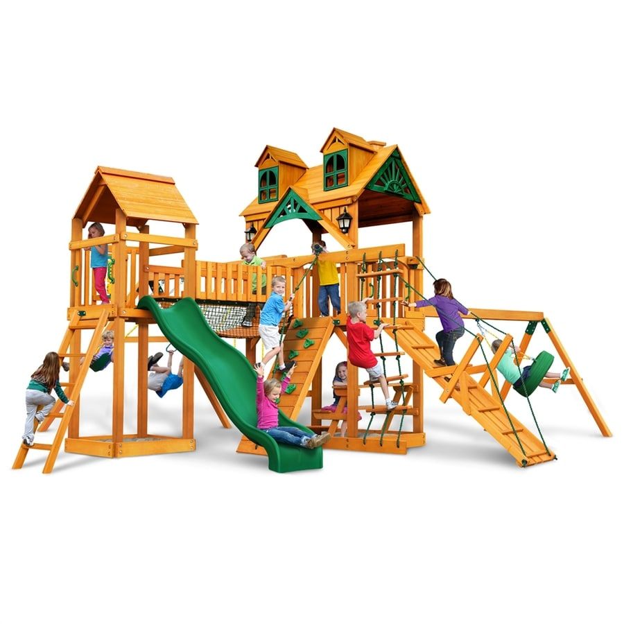 Gorilla Playsets Malibu Pioneer Peak Residential Wood Playset with Swings