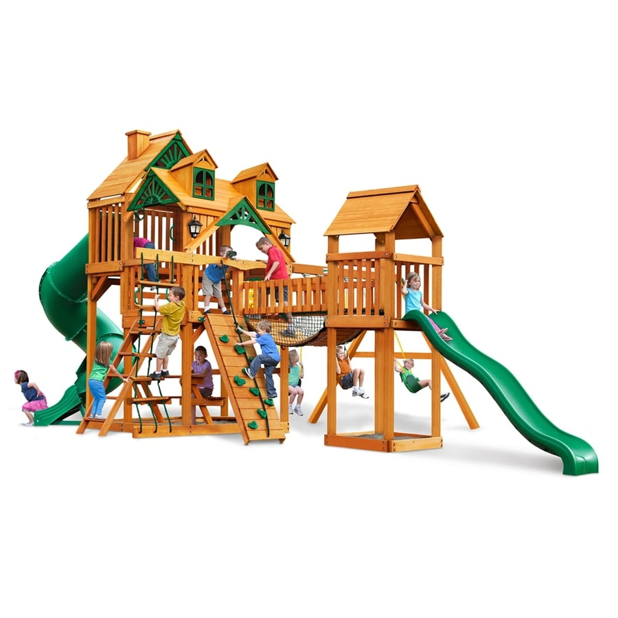 Gorilla Playsets Malibu Treasure Trove I Residential Wood Playset with Swings