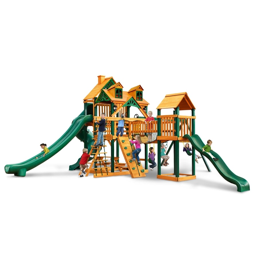 Gorilla Playsets Malibu Treasure Trove II Residential Wood Playset with Swings
