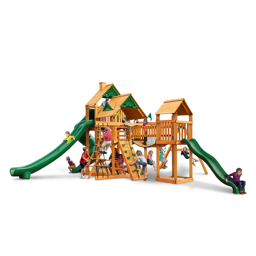 Gorilla Playsets Treasure Trove II Residential Wood Playset with Swings