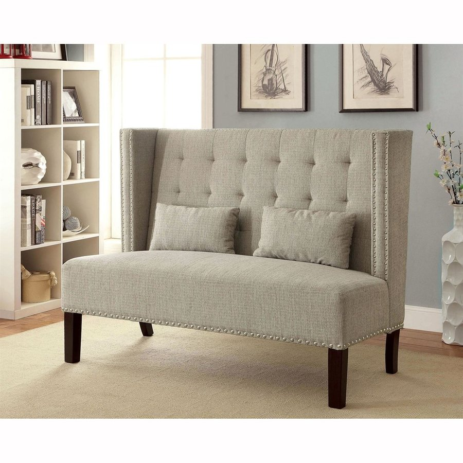 Furniture of America Amora Beige Linen Settee Loveseat