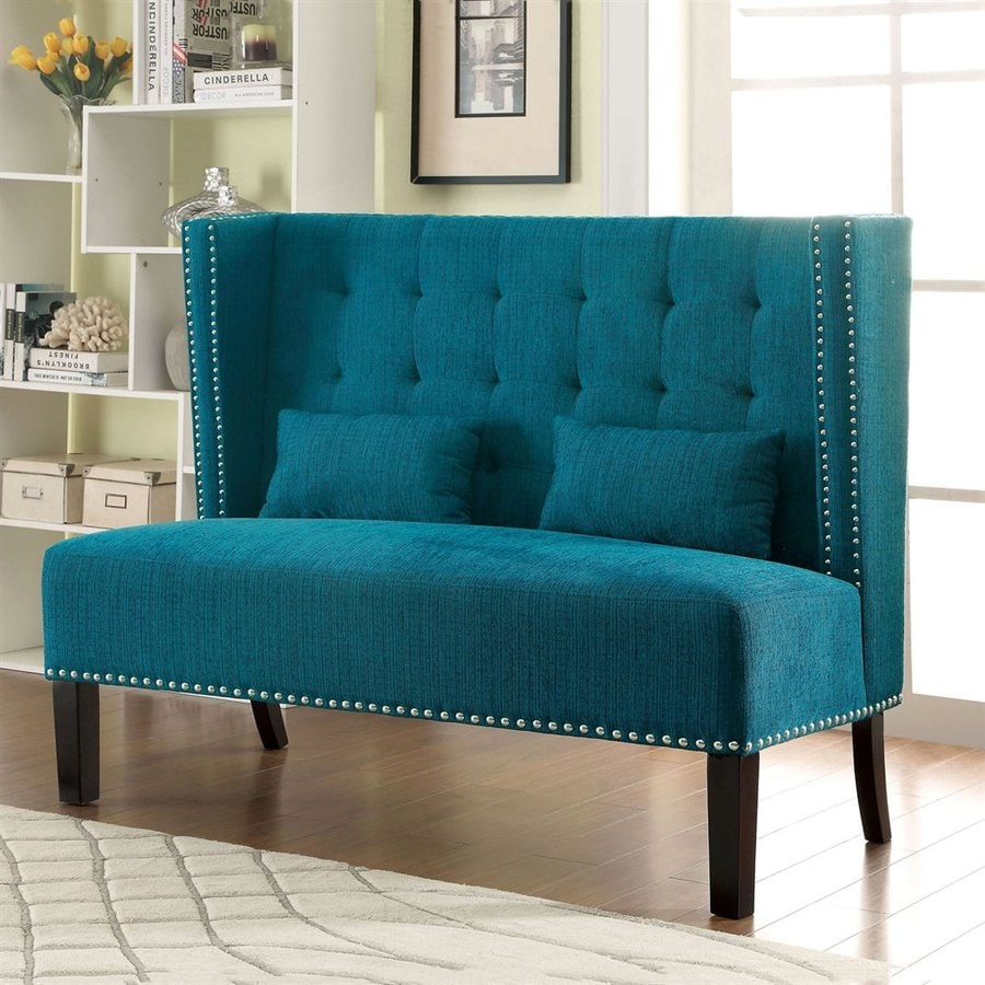 Furniture of America Amora Dark Teal Linen Settee Loveseat