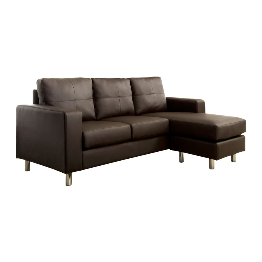Furniture of America Avon Dark Brown Faux Leather Sectional
