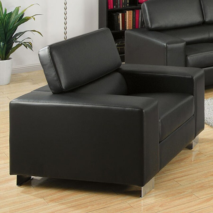 Furniture of America Makri Black Bonded Leather Accent Chair