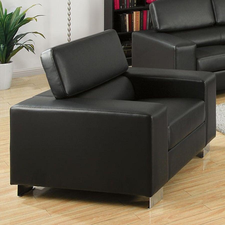 Furniture of America Makri Modern Black Faux Leather Accent Chair