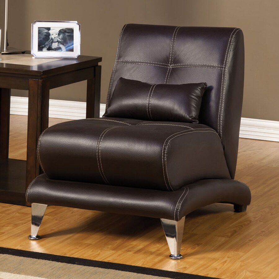 Furniture of America Artem Modern Chocolate Faux Leather Accent Chair