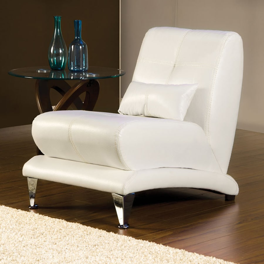 Shop furniture of america artem modern white faux leather for Furniture of america