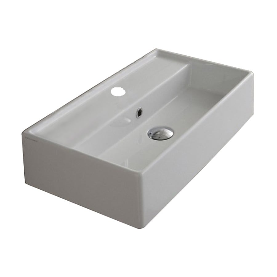 nameeks teorema white ceramic wallmount rectangular bathroom sink with overflow