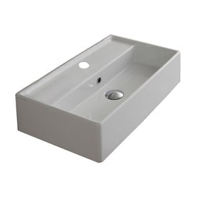 nameeks teorema white ceramic wall mount rectangular bathroom sink with overflow - Wall Mount Sink