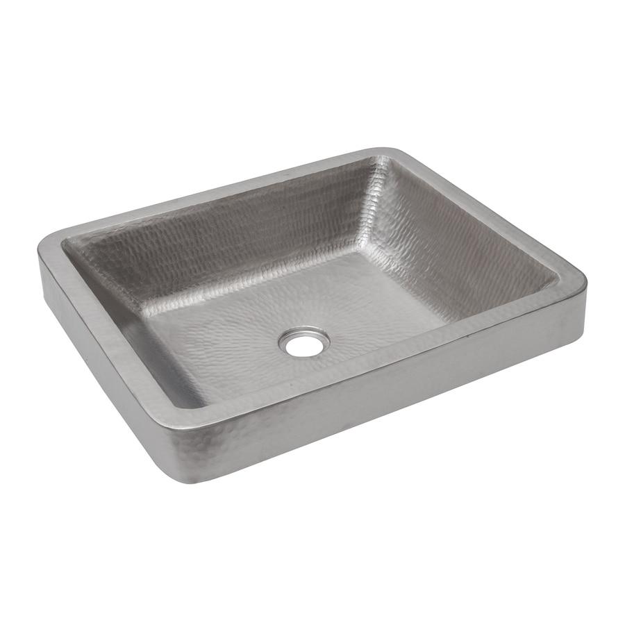 Premier Copper Products Electroless Nickel Copper Vessel Rectangular Bathroom Sink