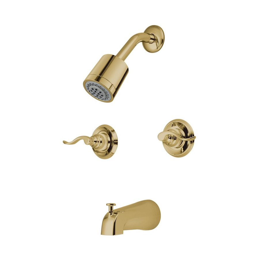 Elements of Design NuWave French Polished Brass 2-Handle Bathtub and Shower Faucet with Valve