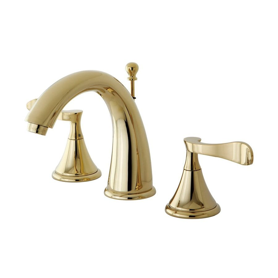 Shop Elements Of Design Century Polished Brass 2 Handle Widespread Bathroom Faucet Drain