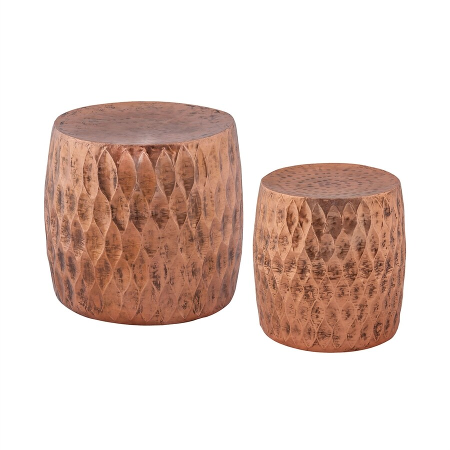 Dimond Home Set of 2 Djembe Copper 18-in Small Stool