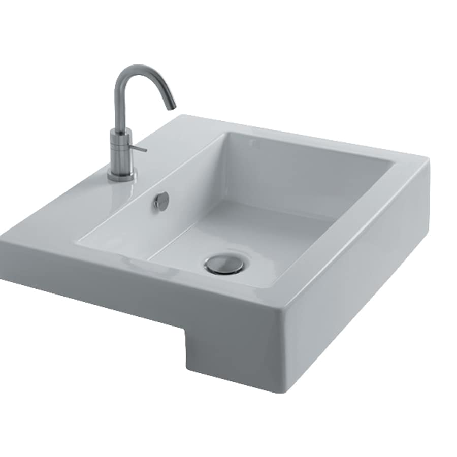 Shop Ws Bath Collections Whitestone White Ceramic Drop In Square Bathroom Sink With Overflow At