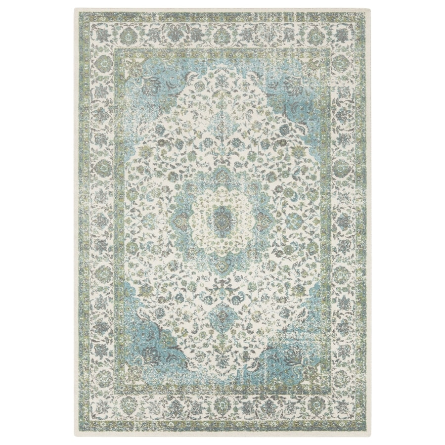 Surya Aberdine Aqua/Teal/Ivory Indoor Oriental Throw Rug